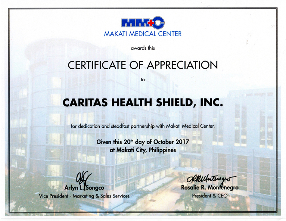 Caritas health shield certificate of appreciation from makati medical center yadclub Choice Image